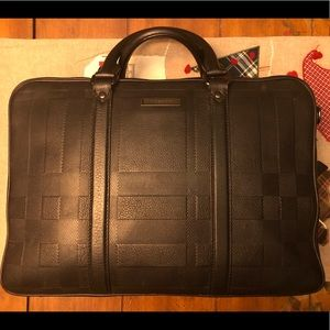 Burberry Check Embossed Leather Work Tote Unisex